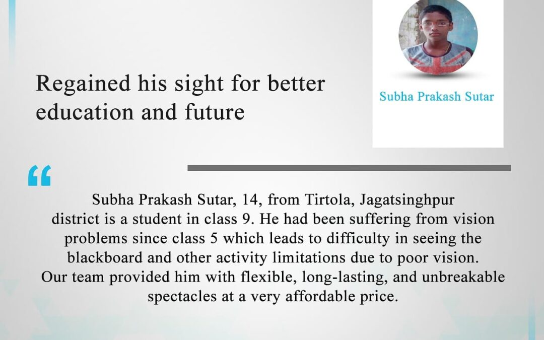 Regained His Sight For Better Education And Future